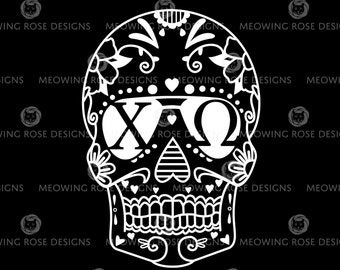 Chi Omega Candy Skull | vinyl decal for laptops, car windows, water bottles, just about anywhere!