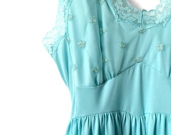 Vintage 50's, 60's, Turquoise, Kayser, Midi, Lace, Embroidered, Back, Slip Dress, Slip, Lingerie, Bridal, w/Tag - 25% OFF CODE: bbsummersale