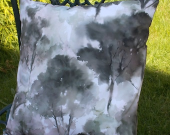 Grey cushion cover with trees,for 45cm pad. Abstract tree image on the front,browns/greens on white background. Back is brown/grey taffeta.