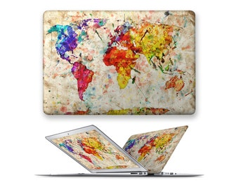 macbook hard case rubberized front hard cover for apple mac macbook air pro 11 12 13 15 blue pattern oil painting world map
