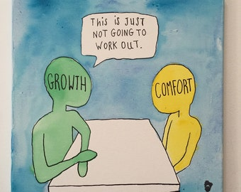Growth vs Comfort Watercolor Art on Canvas | Handmade to Order | Custom Colors & Sizes | Inspirational Art | Made in the USA