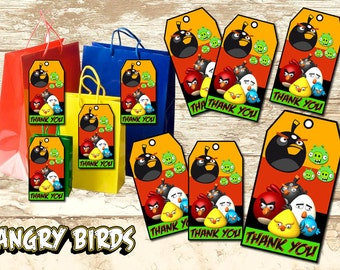 Angry Birds Birthday Thank You Tags-Angry Birds Birthday Party-Angry Birds Printable-Angry Birds Supplies- Angry Birds Digital Download-