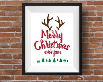 DIY Christmas Printable, Christmas Sign Printable, Merry Christmas Printable, Christmas Wall Art, Reindeer Printable, Holiday Printable