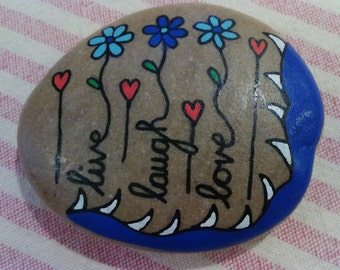 Pebble art, ornament, beautiful hand-painted pebble art - Live, Laugh Love