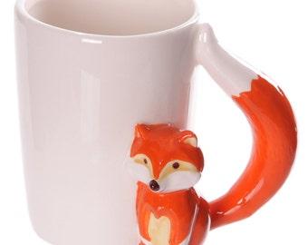 Coffee Mug Ceramic Novelty Fox Shaped Handle Mug Unique Animal New Gift Ideas