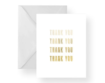 Thank You Cards Gold Fade (Set) Gold note cards, gold stationary, white note cards, white stationary, folded cards