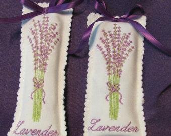 Lavender sachets   machine embroidered