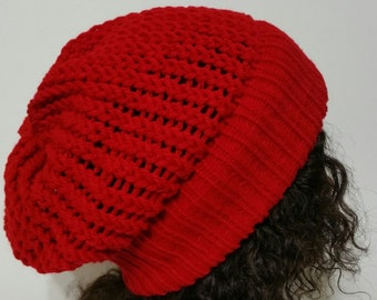 Red Slouchy Hat / Red Slouchy Beanie / Women Slouchy Hat / Men Slouchy Hat / Slouchy Beanie / Spring Hat / Summer Hat
