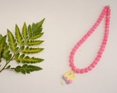 Child Necklace - Popsicle Charm and Matte Pink beads