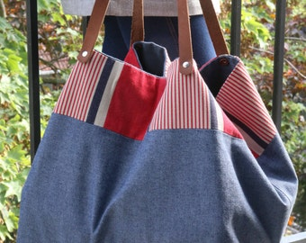 Bag Tote in cotton/Beach/purse bag Tote/large bag/beach bag