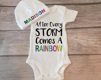 Coming Home Outfit, After Every Storm Bodysuit, Miracle Baby, LONGSLEEVE or SHORTSLEEVE, Baby Shower Gift, Rainbow Baby Bodysuit