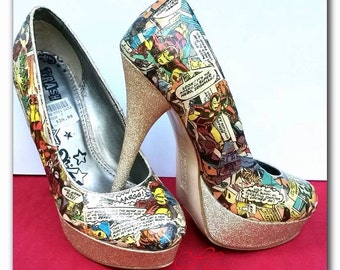Iron Man Comic Book Heels- one of a kind