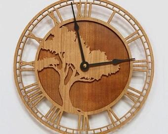 Mission Oak Tree Wood Wall Clock