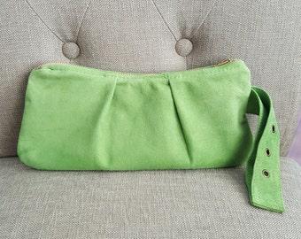 Green Suede Clutch Purse