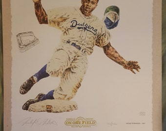 Jackie Robinson  artist signed and  numbered  Lithograph