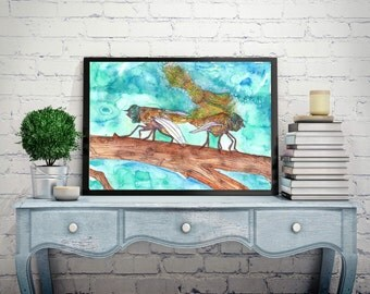 insect Painting,lovers Painting,Watercolor painting,insect illustration,turquoise Painting,bug art,dragon fly,insect home decor