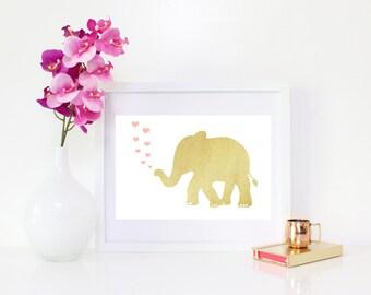 DIGITAL DOWNLOAD, Gold Elephant Art, Cute Elephant Art, Elephant Hearts Art, Nursery Art, Nursery Wall Decor, Nursery Elephant, Elephant