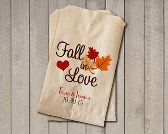 Wedding Favor Bags, Fall in Love Favor Bags, Personalized Wedding Candy Bags, Fall Wedding Candy Buffet Bags, Bridal Shower, Engagement
