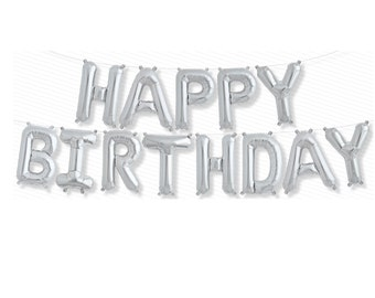 "Happy Birthday Letter Balloons, 16"" Silver Letter Balloons, Air Fill Balloons, Happy Birthday Silver Letters - String Included"