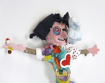 Smoker Voodoo Doll, Pin Doll or Poppet, Cigarette Art, Anti Smoker Art, Office Party Gift, Folk Art Doll, Primitive Art, Ex Smoker Gift