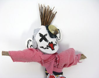 Male Voodoo Doll, Spiked Hair, Punk Doll, Mixed Media, Found Art, Gag Gift, Birthday Gift, Figurine, Poppet or Pin Doll, Primitive Art