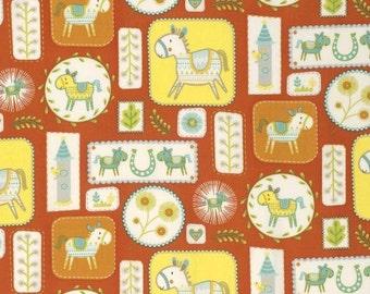 "Dena Designs   FreeSpirit Cotton Fabric ""Happi Horses"" - Horse Frames  Red"