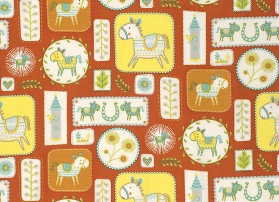 Dena designs freespirit cotton fabric happi horses for Horse fabric for kids
