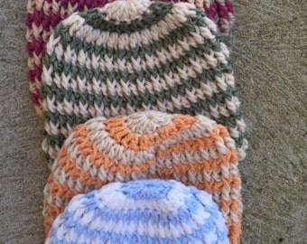 Baby hats, crocheted, one of a kind