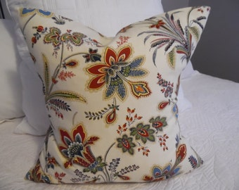 18x18,Floral.Greens.Blues.Browns.Blacks.White.Reds.Russet.Creams.Yellows.Natural Fall Pillow Covers.Slip Covers.Summer Decor.Spring Decor