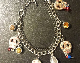 Day of the dead, day of the dead bracelet, dia de los muertos, dia de los muertos bracelet, Mexican tradition, Mexican culture, sugar skulls