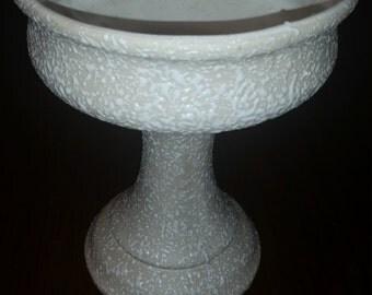 80's Ceramic pedestal flower vase/pot, vintage, white, off white