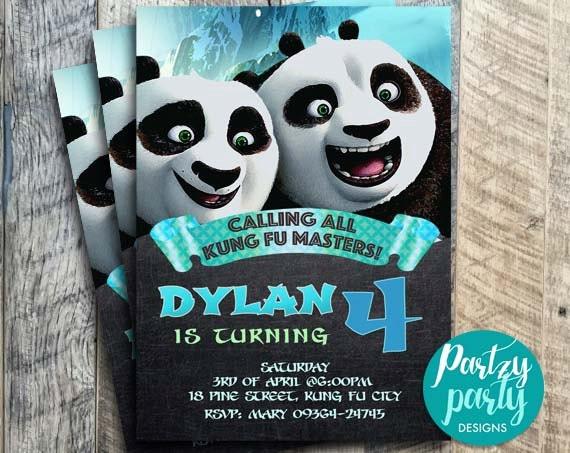 KUNG FU PANDA Invitation, Kung fu Panda Chalkboard Invites ...