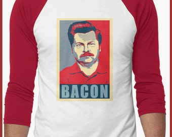 Ron swanson Parks and recreation baseball 3/4 sleeve Shirt