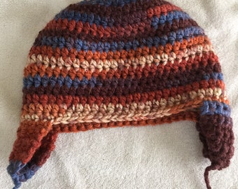 Womens crochet hat with ear flaps