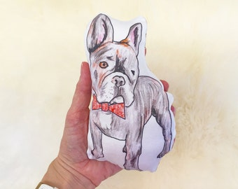 Frenchie baby rattle | hand illustrated | dog toy or pet toy | french bulldog
