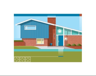Mid-Century Modern Home Print - Blue Door - 2 sizes available