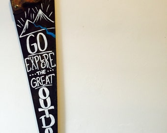 """Hand Painted Handsaw: """"Go Explore the Great Outdoors"""""""