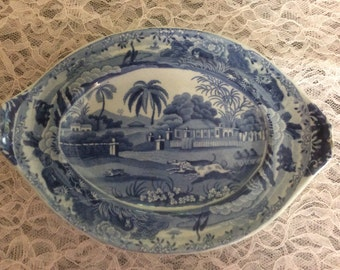 J & R Clews BlueTransferware Dish