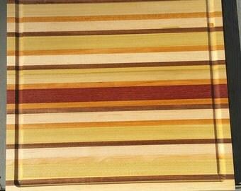 Medium Walnut, Cherry, Maple, Poplar, and Purpleheart Cutting Board
