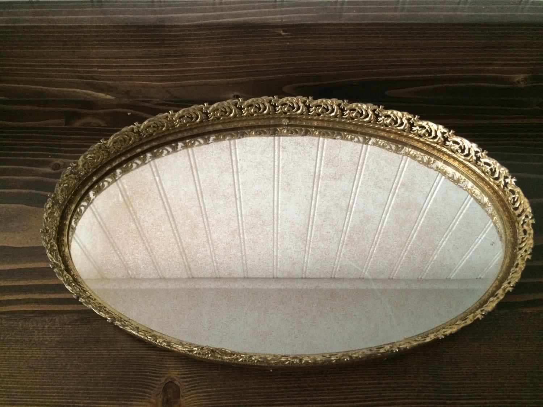 Mirrored vanity tray oval tray hollywood regency dresser for Mirrored bathroom tray