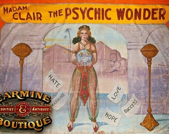 """Large Authentic Vintage """"Madam Clair The Psychic Wonder"""" Sideshow Banner"""