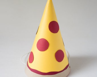 Pizza Party Hat / Photo Booth Prop / Pizza Prop / Handmade /Photobooth