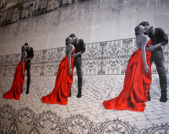 Cotton fabric 2, 20 m wide, Lady in red