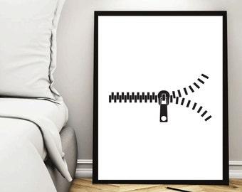 Zipper, Zipper Print, Zipper Art, Zipper Poster, Simple Print, Room Decor, Minimalist Print, Interior, Printable Poster, Room Wall Art, Gift