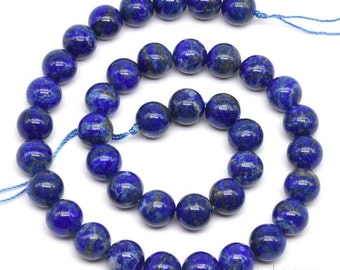 Lapis lazuli beads, 10mm round, gemstone beads, genuine stone beads, A grade lapis beads, blue beads, round beads, craft supplies, LPS2060