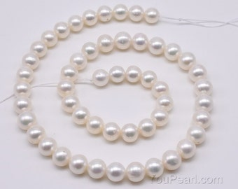 8mm freshwater pearl strands, fresh water genuine pearl beads, white round beads supply, big hole available, FR560-WS