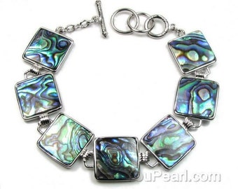 Abalone bracelet, square blue green bracelet, genuine paua shell bracelet, silver plated brass stretch bracelet, shell jewelry, SH1585-AB