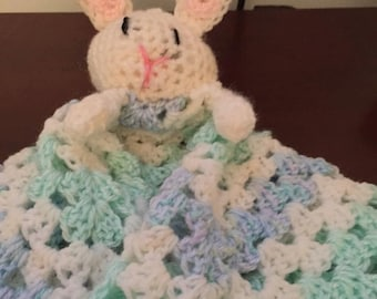 Bunny Snuggly in blues and green
