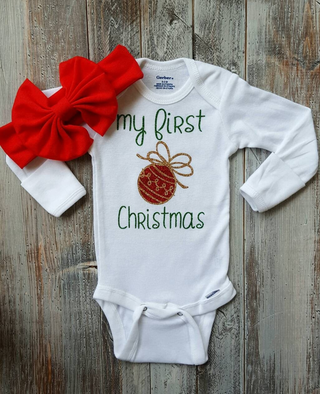 First Christmas Onesie Baby girl clothes Baby boy clothes