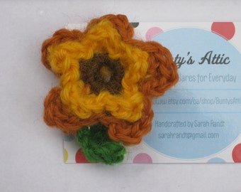 Crochet Sunflower for Michael Brooch #6